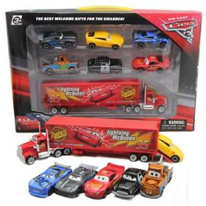 Hot-Disney-Pixar-Car-No95-Mack-McQueen-Racer-039-s-Truck-6pcs-Cars-Set-Toy-Gift-Box