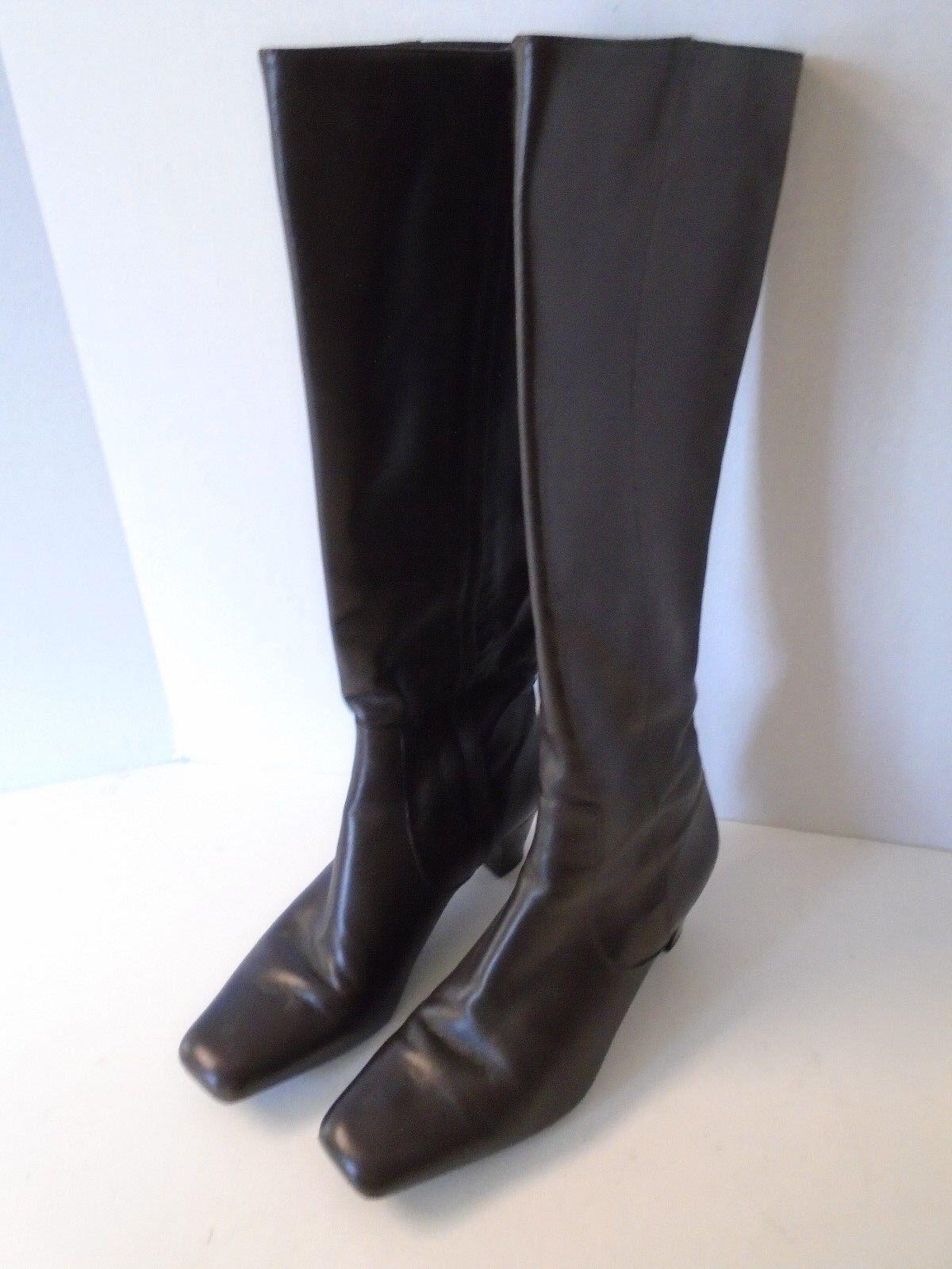 Cole Haan Marronee stivali 8 M  Leather Medium Heel Square Toe Made in Brazil