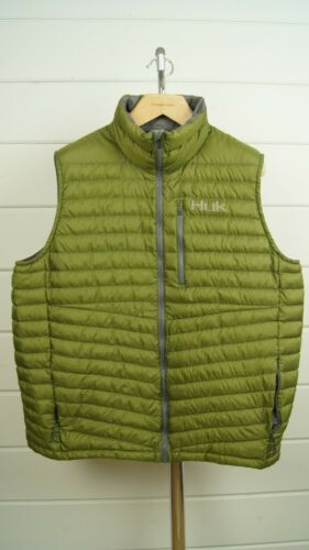 HUK FISHING Insulted Puffer Vest Green Gray Packab