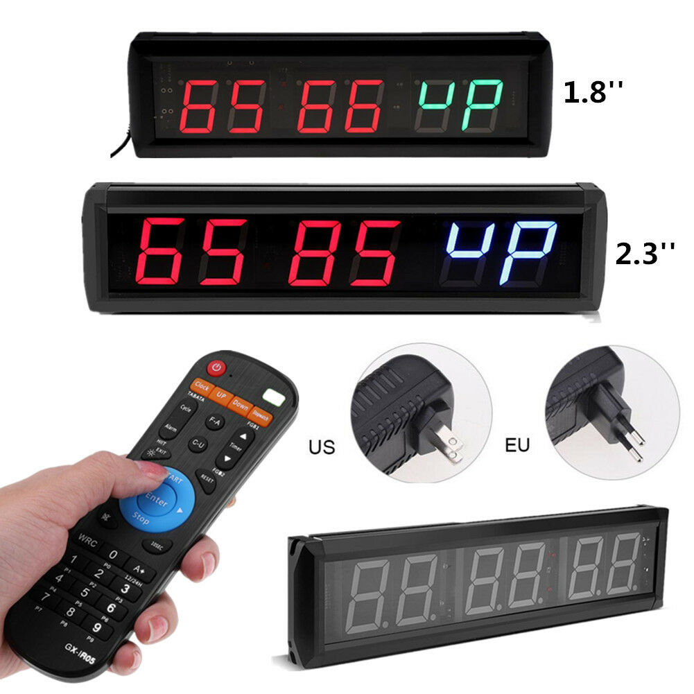 2.3'' Programmable LED Interval Timer Big Stopwatch Home Gym CrossFit Fitness