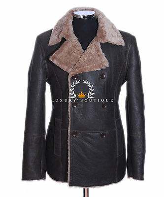 German Navy Brown Men's Real Ginger Shearling Sheepskin Leather Jacket Coat