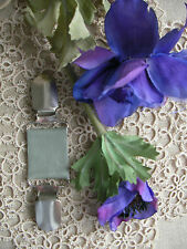 Sweater Guard Leather Clip ~Boho Dress Brace~F/GRN Pearl /70 Colour+ Magnolia~BN