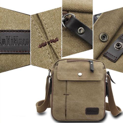 Vintage Mens Small Canvas Shoulder Bag  Leather Satchel School Military Messenge