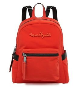 NEW Henri Bendel Studio Backpack Poppy Red Orange w  Black Nylon ... 4e2bf0d06f178