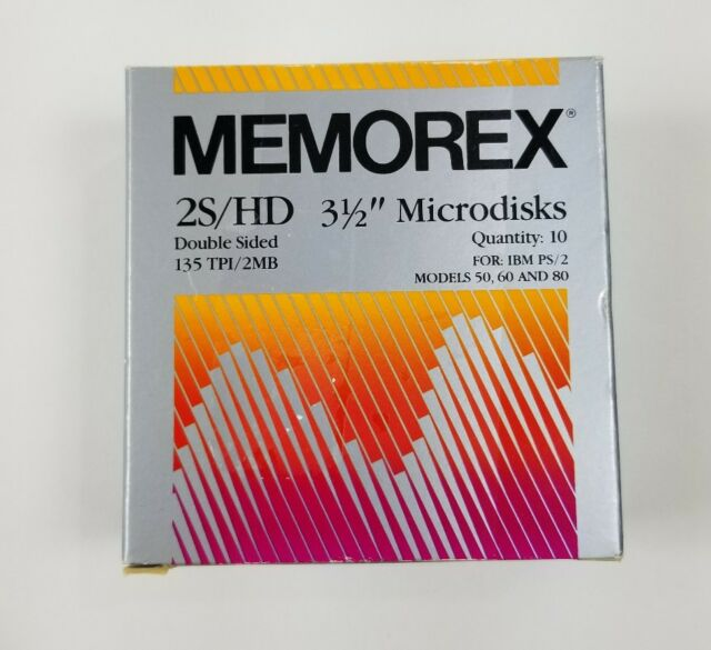 """Memorex 2S/HD Double Sided 3.5"""" Microdisks 135 TPI / 2MB Qty. 10 New"""