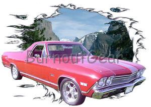 1968 Black Chevy El Camino Custom Hot Rod Diner T-Shirt 68 Muscle Car Tees