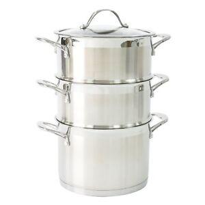Acier-Inoxydable-Induction-Casserole-avec-Steamer-Insert-Set-20cm-2-Palier-Couvercle-Pot