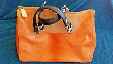 Henri Bendel Handbag Multi-Color (Orange, Black, Beige) Hobo Satchel Mock Snake