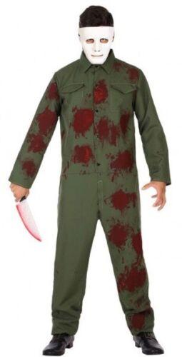 Mens Bloody Boiler Suit Jumpsuit Film Halloween Fancy Dress Costume Outfit M-XL