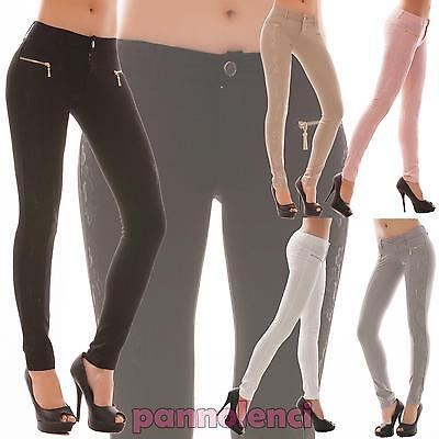 Pantaloni donna elasticizzati pizzo aderenti skinny sigaretta nuovo C6079