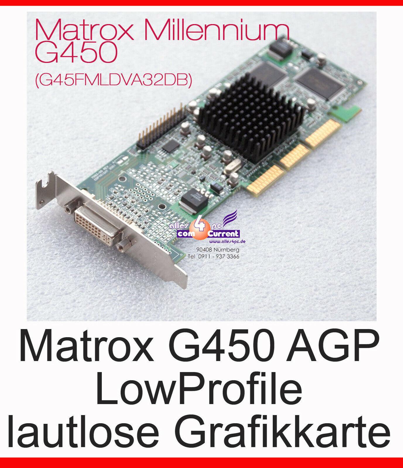 Low Profile SFF Silent Graphic Card Matrox AGP DVI G450 32MB Passivcooler #G21