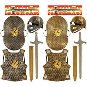 5 Piece Set Medieval Knight Dragon Chain Armour Helmet Sword Shield Fancy Dress