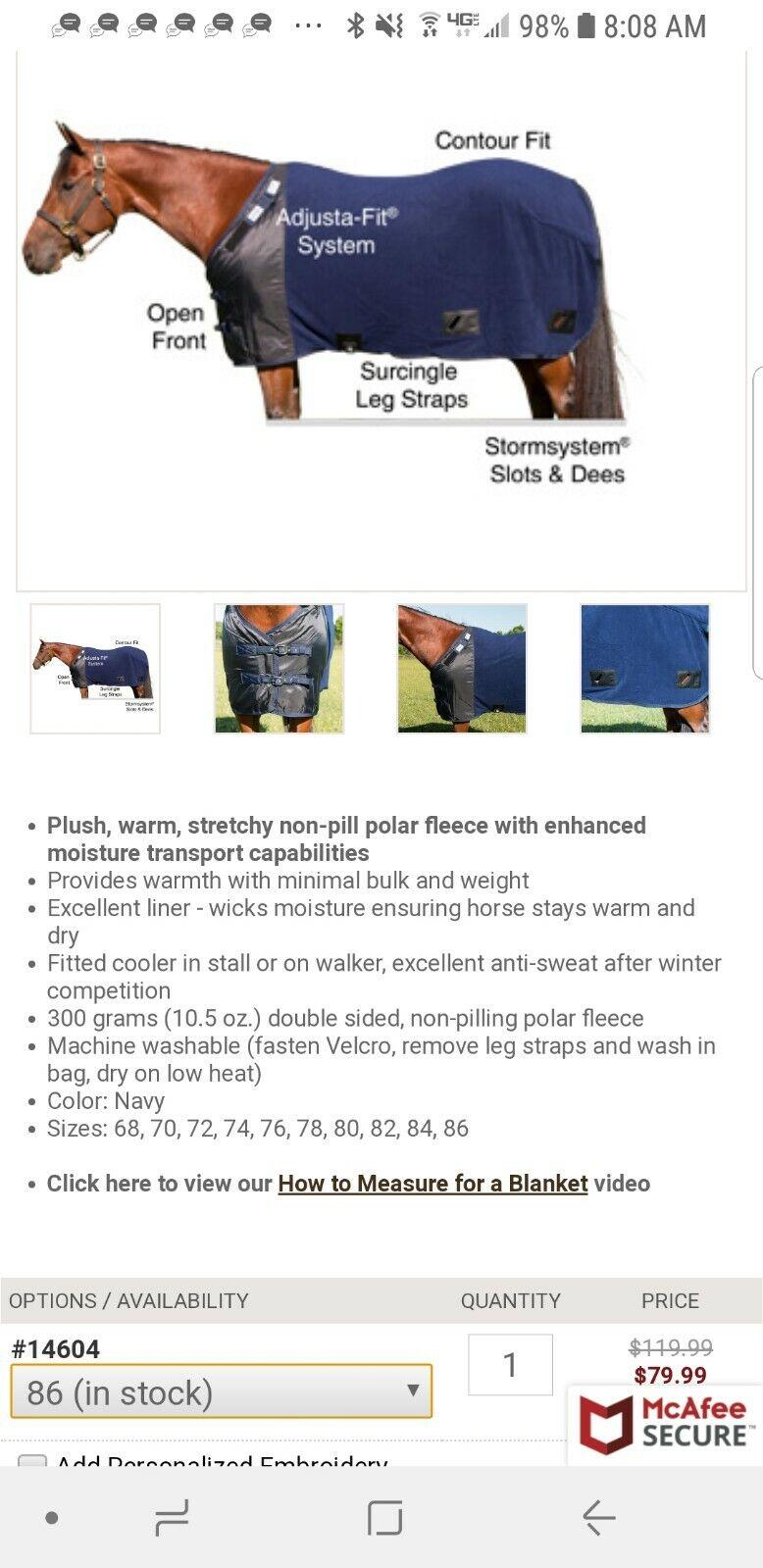 Schneiders Fleece Blanket Liner 86 Navy  Adjusta-Fit® Fleece Leg Strap Open Front  incredible discounts