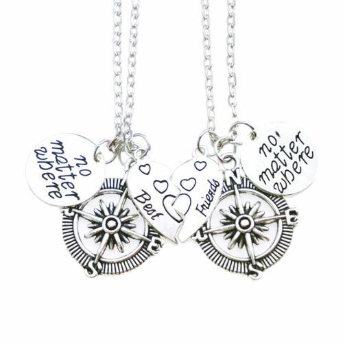 2pcs Best Friend Good Friend Compass Mother Daughter Matching Heart Necklace