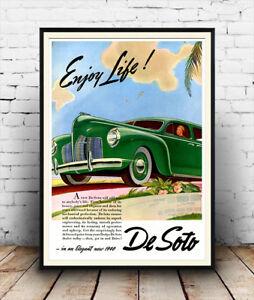 Enjoy-Life-DeSoto-Vintage-1940-car-magazine-advert-Poster-reproduction