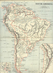Details about 2310 South America historical copper engraving map with  colored borders 1887