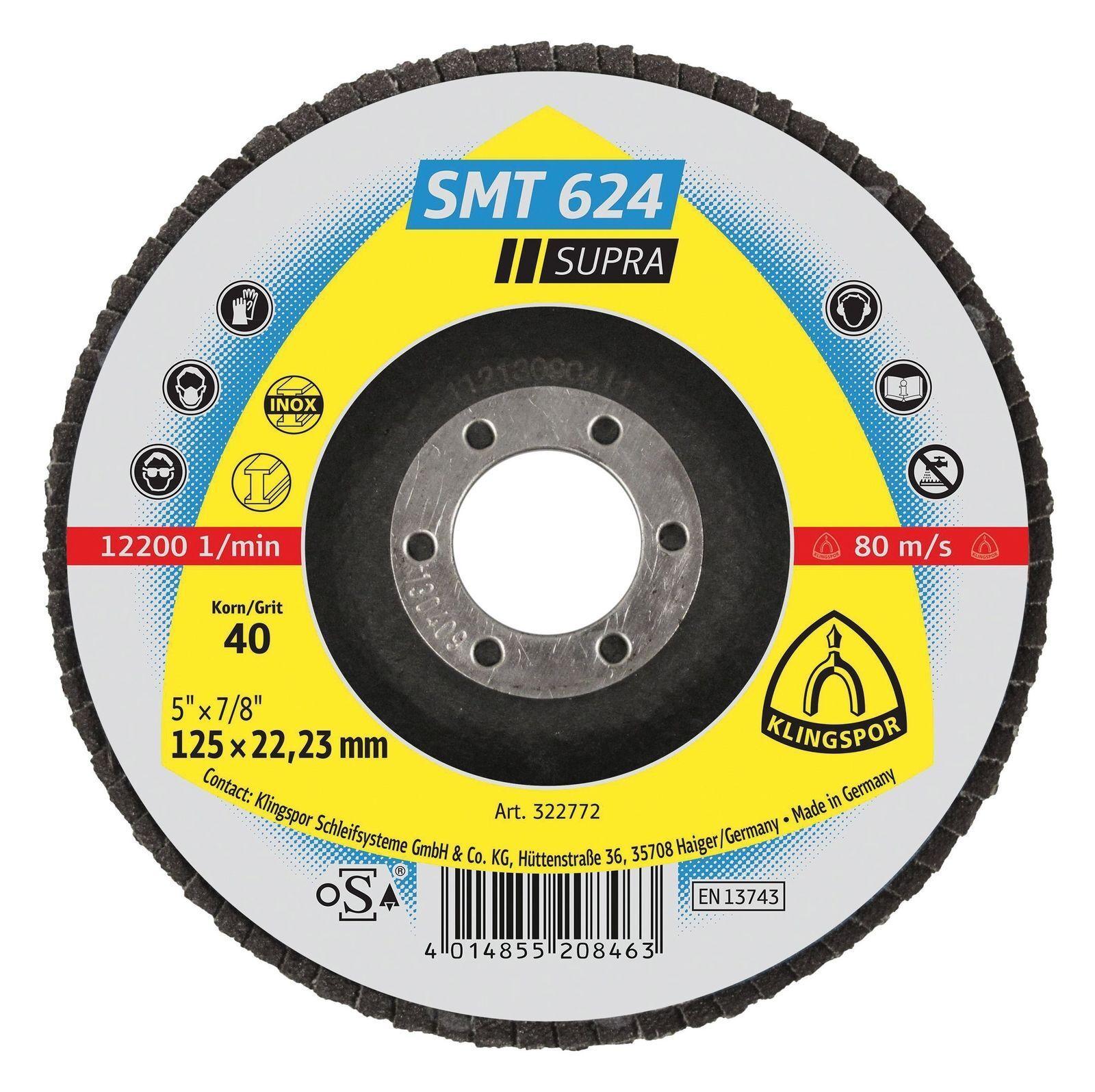 Klingspor Schleifmopteller Supra SMT 624 125mm K40 gewölbt (322772) -50 Stk-