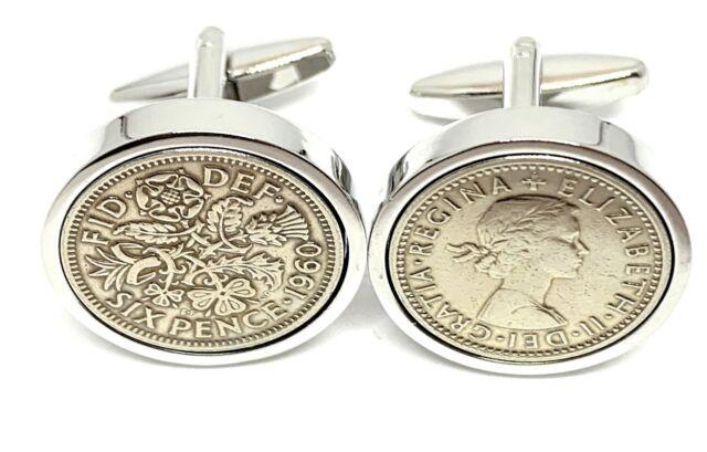 Premium 1940 Lucky sixpence cufflinks for a 80th Birthday cufflinks