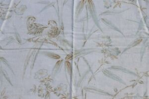 """French Antique 19thC c1880-90 Faded Tropical Bird Printed Curtain Fabric~51""""X32"""""""