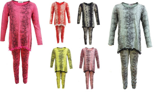 Girls Kid/'s Snake Print Pom Pom Tracksuit Loungewear 2 piece Legging Top suit
