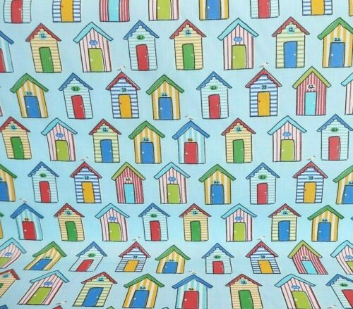 Beach Huts SEASIDE Holiday POLYCOTTON Fabric Blue BACKGROUND Material NEW