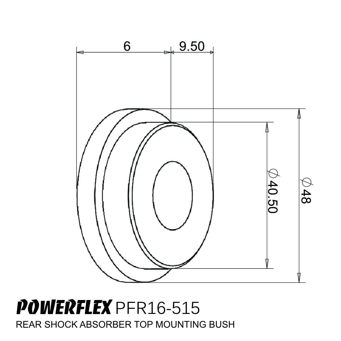 PFR16-515 POWERFLEX ROAD SERIES Rear Shock Absorber Top Mounting Bushes