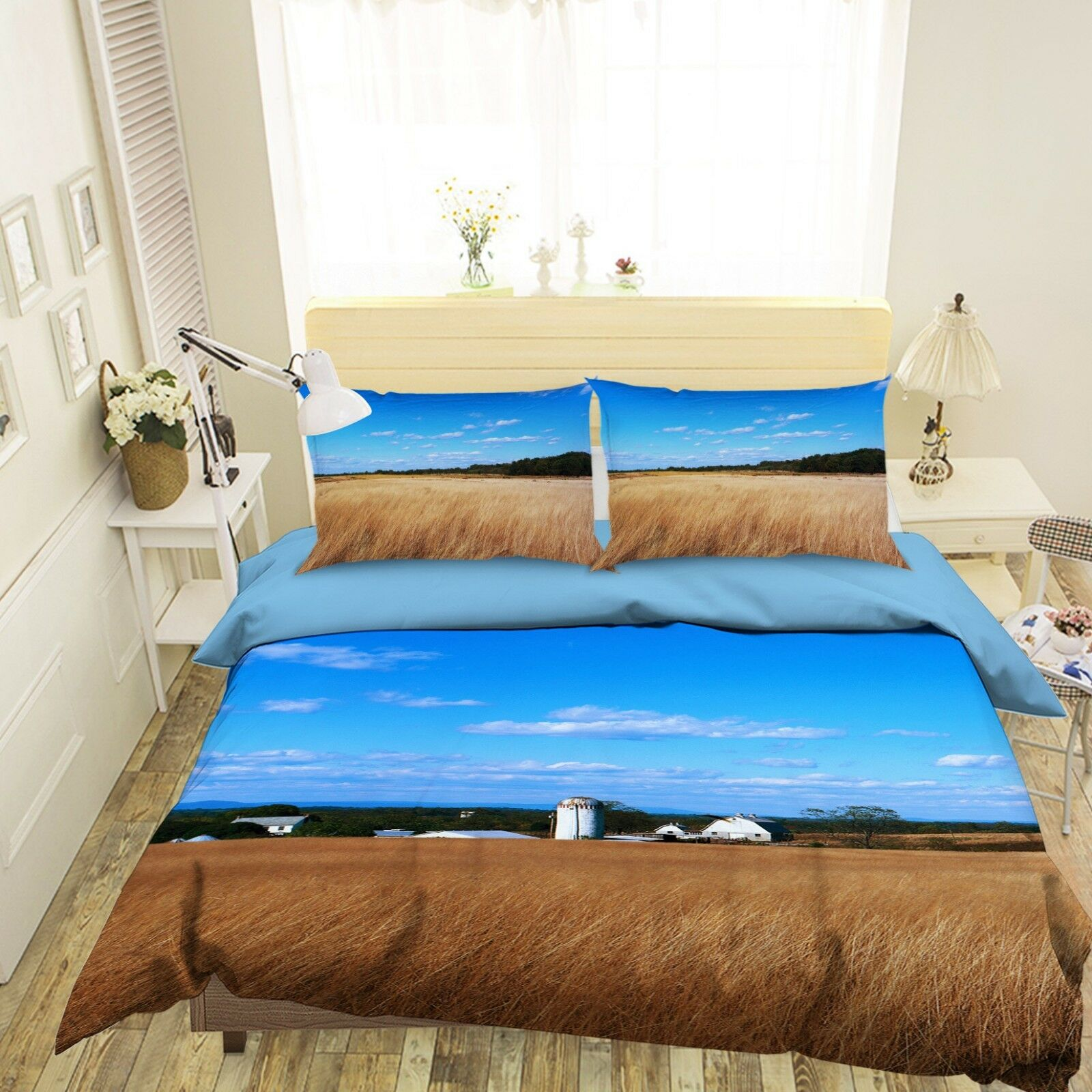 3D Grassland bluee Sky 1 Bed Pillowcases Quilt Duvet Cover Set Single Queen King