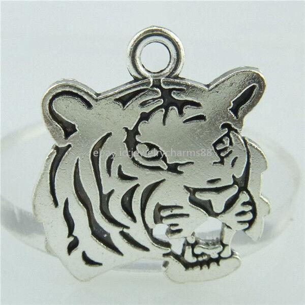 14967 10PCS Alloy Antique Silver Vintage Animal Tiger Head Pendant Fashion