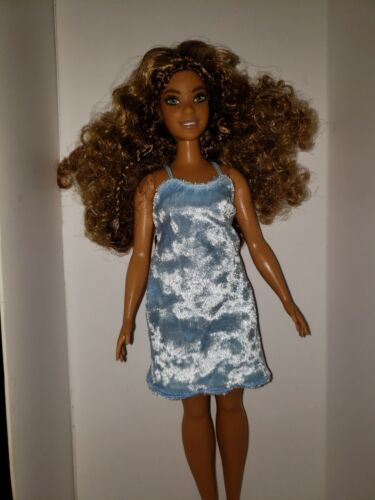 CURVY DOLL BABY BLUE VELVET DRESS