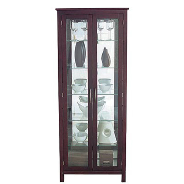 Kyoto Solid Wood Double Door Gl Display Cabinet With Light Oc7710
