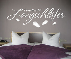 wandtattoo schlafzimmer paradies f r langschl fer federn spr che wandsticker ebay. Black Bedroom Furniture Sets. Home Design Ideas
