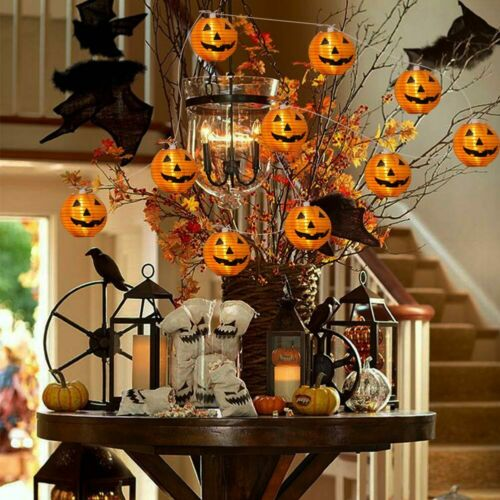 10 LED Pumpkin String Fairy Lights Lantern Party Home Props Halloween Decoration