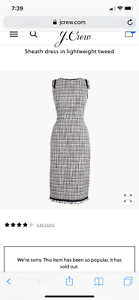 J crew Sheath dress in lightweight tweed 000 NWT sold out
