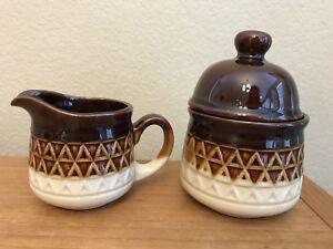 Stoneware Cream & Sugar Bowl With Lid Espresso Brown Diamonds Japan Vintage MCM