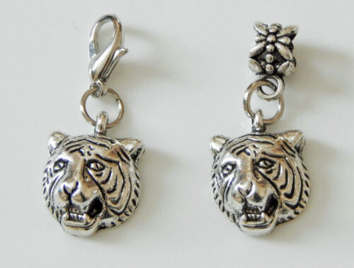 FIVE OR TEN TIGER HEAD CHARMS ON LOBSTER CLASPS OR BAIL BEADS CHOICE OF ONE