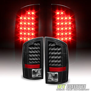 black 2007 2008 dodge ram 1500 07 2009 2500 3500 led tail lights brake. Black Bedroom Furniture Sets. Home Design Ideas