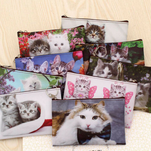 Girls Cute Cat Coin Purse Women Kids Mini Wallet Zipper Cartoon Bag Pouch Holder