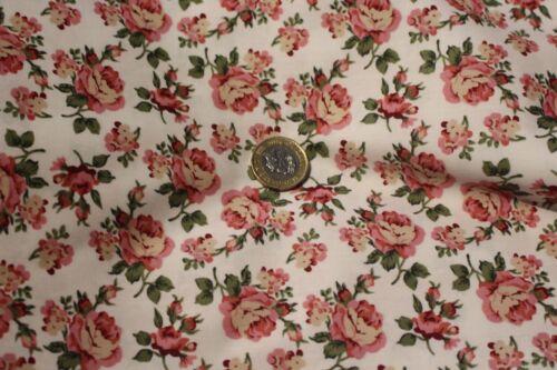 """Imprimé Rose Robe Tissu £ 5.50//m 100/% Coton Popeline 1.15 M//45/"""" Large"""