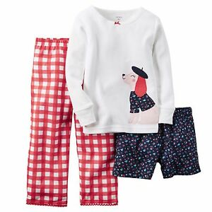3ca0377b1 Carters Girl 3Pc Puppy Dog Floral Plaid L S Top Shorts Pants Pajama ...