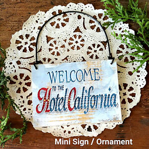 Hotel-California-Guest-Room-Mini-sign-DoorKnob-Sized-Wood-Ornament-USA-B-amp-B-New