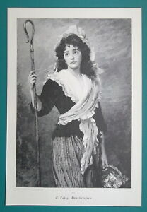 LOVELY-GIRL-Rustic-Maiden-Daisy-Flowers-Seller-VICTORIAN-Era-Print