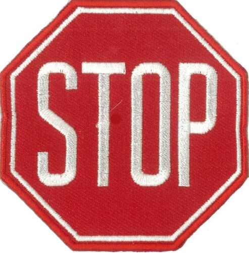 Écusson patche STOP thermocollant iron-on patche stop DIY brodé