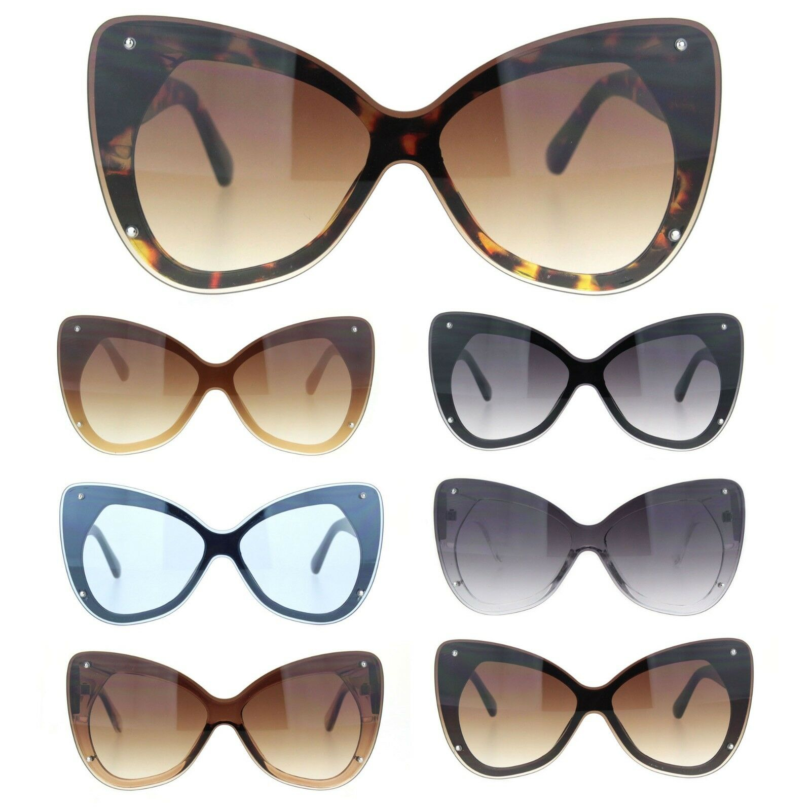 Womens Exposed Edge Shield Butterfly Plastic Sunglasses