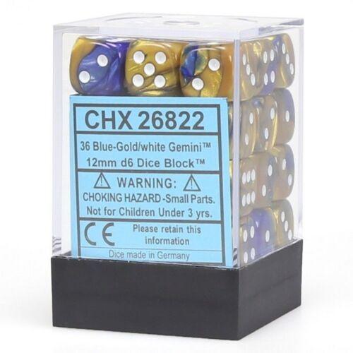 36 d6 Dice Set Chessex GEMINI BLU GOLD White 26822 BLU ORO Bianco Dadi Dado