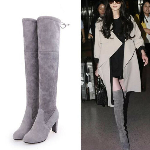 Damen Schuhe Schnür High Heels Blockabsatz Overknee Stiefel Freizeit Boots Slim