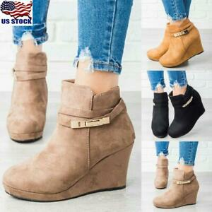 Women/'s Casual Wedge Boots Ladies Zip Up Low Heel Ankle Faux Suede Shoes Size
