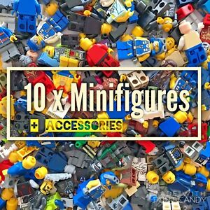 10 X Mixte Lego Minifigures + Accessoires-lego Minifigures Job Lot Bundle Set-afficher Le Titre D'origine