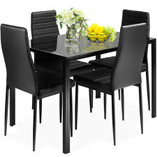 Costway HW52382+ Metal Frame and Glass Tabletop Dining Table Set - 5 Piece