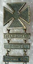 Badge- US War Marksman Badge bar Marksman,M-14 & Machine Gun maker N. NY