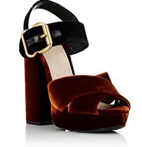 de249e5b48d3 Details about New Women s Velvet Platform Pump Cross Buckles Sandals 2Colors  Block Heel Shoes